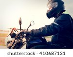 motorcyclist riding on his... | Shutterstock . vector #410687131