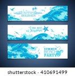vector set of sea ocean... | Shutterstock .eps vector #410691499