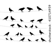 icons birds on wires against a... | Shutterstock .eps vector #410714959
