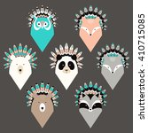 set of cute animals with... | Shutterstock .eps vector #410715085