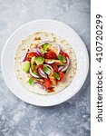 fajita with grilled sesame... | Shutterstock . vector #410720299