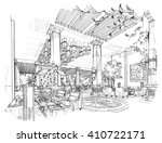 sketch black and white interior ... | Shutterstock . vector #410722171