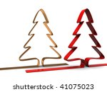 abstract 3d illustration of two stylized christmas trees - stock photo