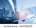 double exposure of business... | Shutterstock . vector #410782639
