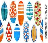hand drawn watercolor surfboard ... | Shutterstock . vector #410787169
