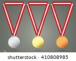 gold  silver and bronze medals. ... | Shutterstock .eps vector #410808985