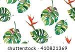 split  leaves and bird of... | Shutterstock . vector #410821369