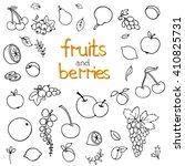 collection of cartoon fruits... | Shutterstock .eps vector #410825731