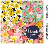 set of floral seamless... | Shutterstock .eps vector #410838091
