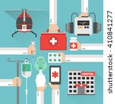 hospital flat design card with... | Shutterstock .eps vector #410841277