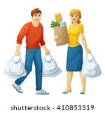 man and woman with grocery bags ... | Shutterstock .eps vector #410853319