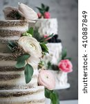 wedding cake with flowers | Shutterstock . vector #410887849