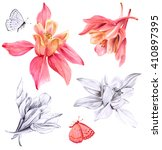 a set of watercolor drawings... | Shutterstock . vector #410897395