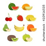 vector fruit icon set | Shutterstock .eps vector #410916535