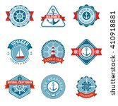 nautical icon set in colored... | Shutterstock .eps vector #410918881