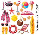 summer holiday decorative icons ... | Shutterstock .eps vector #410918899