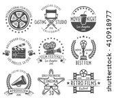 movies black white emblems set... | Shutterstock .eps vector #410918977