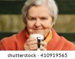 senior happy woman smiling in... | Shutterstock . vector #410919565