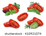 set of sun dried tomatoes with... | Shutterstock . vector #410921074