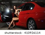 glamour woman in a red car | Shutterstock . vector #410926114