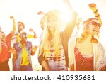 teenagers friends beach party...   Shutterstock . vector #410935681