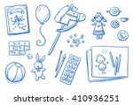 Children Toys Icons Flat Lay...