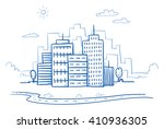 city view with office buildings ... | Shutterstock .eps vector #410936305