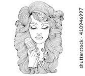 vector hand drawn portrait of... | Shutterstock .eps vector #410946997