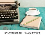 writer's workplace   wooden... | Shutterstock . vector #410959495