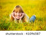 charming young woman lies on...   Shutterstock . vector #41096587