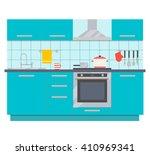 modern kitchen interior design  ... | Shutterstock .eps vector #410969341