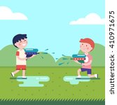 two boys playing water guns... | Shutterstock .eps vector #410971675