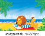 lion on a beach | Shutterstock . vector #41097544