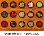 flat flavorful spices and... | Shutterstock .eps vector #410986327