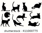 vector cats silhouette. cats in ... | Shutterstock .eps vector #411000775