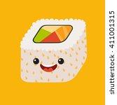 fun sushi vector cartoon... | Shutterstock .eps vector #411001315