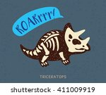 cartoon card with a triceratops ...   Shutterstock .eps vector #411009919