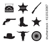 set of isolated black icons on... | Shutterstock .eps vector #411013087