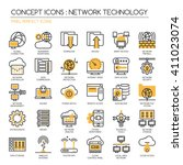 network technology    thin line ... | Shutterstock .eps vector #411023074