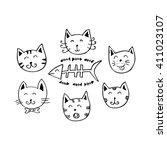 cute cartoon doodle cats | Shutterstock .eps vector #411023107