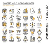 modern business   thin line and ... | Shutterstock .eps vector #411023164