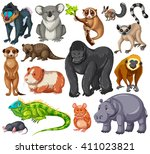 different type of wildlife... | Shutterstock .eps vector #411023821