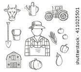 Sketch Of Farmer Or Farm Worke...