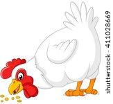 cartoon chicken eating seeds | Shutterstock . vector #411028669