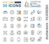 set vector line icons in flat... | Shutterstock .eps vector #411030361