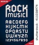 gothic font  metallic beveled... | Shutterstock .eps vector #411038974