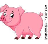 Cartoon Happy Pig Isolated On...