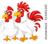 illustration of hen and rooster | Shutterstock .eps vector #411041245