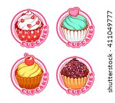 set of four stickers with... | Shutterstock .eps vector #411049777