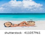 Beach Woman Sunbathing Lying...